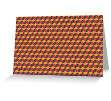 geometric red cube pattern Greeting Card