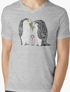 Swirly Penguin Family Mens V-Neck T-Shirt
