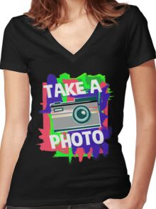 Cool Photographer design Women's Fitted V-Neck T-Shirt