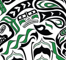 Kodiak - Original Haida, Tlingit Grizzly Bear Art - Green Sticker