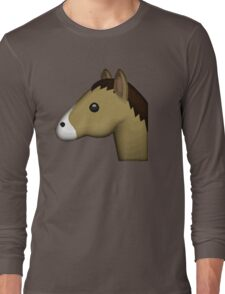 Horse Face Emoji Long Sleeve T-Shirt
