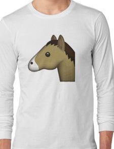 Horse Face Emoji Long Sleeve T-Shirt