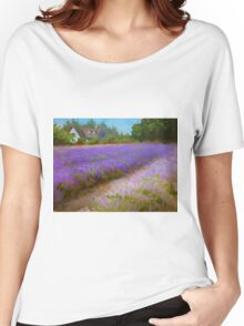 Lavender Field and Farm House Landscape Oil Painting Women's Relaxed Fit T-Shirt