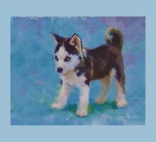 Alaskan Sled Dog Husky Puppy Painting with Blue Background One Piece - Short Sleeve