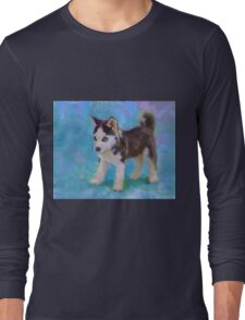 Alaskan Sled Dog Husky Puppy Painting with Blue Background Long Sleeve T-Shirt