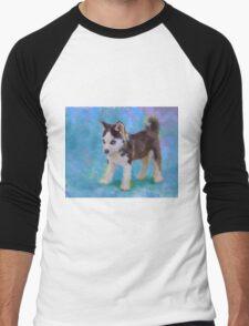 Alaskan Sled Dog Husky Puppy Painting with Blue Background Men's Baseball ¾ T-Shirt