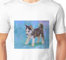 Alaskan Sled Dog Husky Puppy Painting with Blue Background Unisex T-Shirt