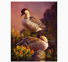 Hawaiian Nene Goose Painting of Birds Resting Among Ohelo Plants Unisex T-Shirt