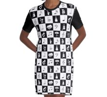 Stylish Modern Music Notes and Instruments Graphic T-Shirt Dress