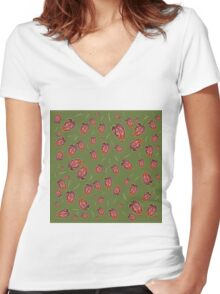 Trinidad Scorpion Chilli Peppers Green Women's Fitted V-Neck T-Shirt