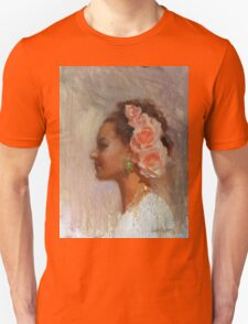 Classic Portrait of Woman With Flowers in Her Hair Unisex T-Shirt