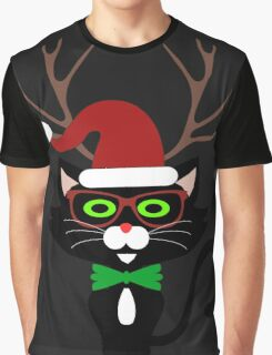 Funny Hipster Xmas Cat Graphic T-Shirt
