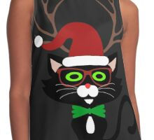Funny Hipster Xmas Cat Contrast Tank