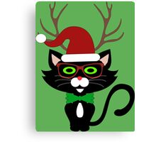 Funny Hipster Xmas Cat Canvas Print