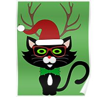 Funny Hipster Xmas Cat Poster