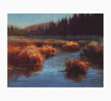 Misty Autumn Meadow With Creek and Grass - Landscape Painting From Alaska Kids Tee