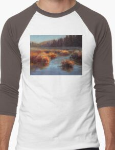 Misty Autumn Meadow With Creek and Grass - Landscape Painting From Alaska Men's Baseball ¾ T-Shirt