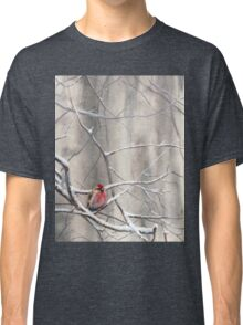 Red Bird On Snowy Branches - Winter Scene with Common Redpoll Classic T-Shirt