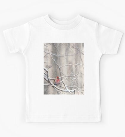 Red Bird On Snowy Branches - Winter Scene with Common Redpoll Kids Tee