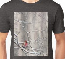 Red Bird On Snowy Branches - Winter Scene with Common Redpoll Unisex T-Shirt