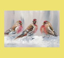 Red Birds in A Row In The Snow - Winter Red Poll Painting One Piece - Short Sleeve