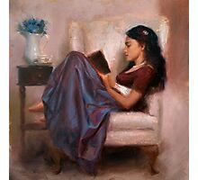 Portrait of woman reading a book in a comfy chair Photographic Print