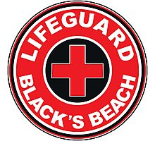 LIFEGUARD BLACK'S BEACH SAN DIEGO SURFING CALIFORNIA SURFING BEACH SURFBOARD Photographic Print