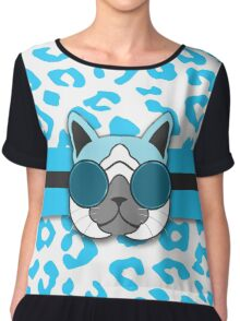 Hipster Cat Turquoise Animal Print Chiffon Top