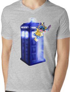 Doctor Stitch + Pikacchu  Mens V-Neck T-Shirt