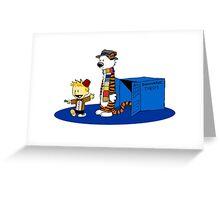calvin and hobbes meets tardis box Greeting Card