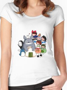 funny ghibli full colour Women's Fitted Scoop T-Shirt