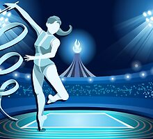 Gymnastics Background Olympics Summer Games 2016 Vector Illustration by aurielaki