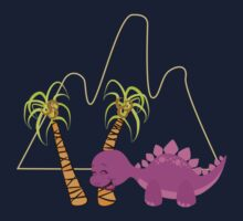 Dinamic Girls Collection - Purple Dinosaur Girl with Palm Trees Baby Tee