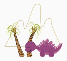 Dinamic Girls Collection - Purple Dinosaur Girl with Palm Trees Kids Tee