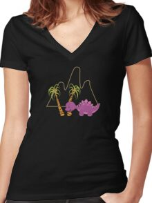 Dinamic Girls Collection - Purple Dinosaur Girl with Palm Trees Women's Fitted V-Neck T-Shirt
