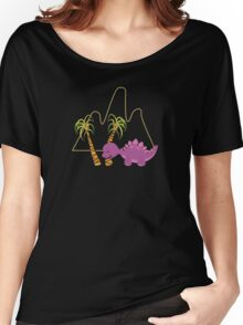 Dinamic Girls Collection - Purple Dinosaur Girl with Palm Trees Women's Relaxed Fit T-Shirt
