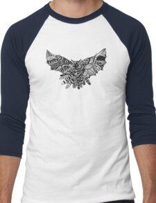 Owl Birds Pattern on Black Men's Baseball ¾ T-Shirt