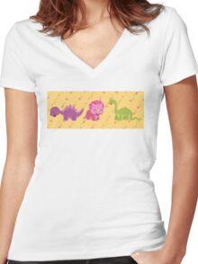 Dinamic Girls Collection - Girl Dinosaur Design Women's Fitted V-Neck T-Shirt