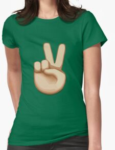 Victory Hand Emoji Womens Fitted T-Shirt