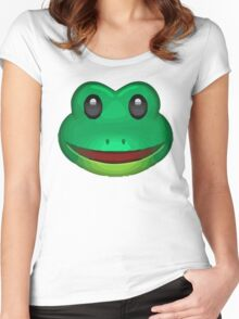 Frog Face Emoji Women's Fitted Scoop T-Shirt