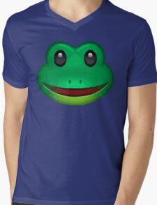 Frog Face Emoji Mens V-Neck T-Shirt