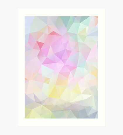 Abstract vector background of triangles, polygon wallpaper in pastel colors. Art Print