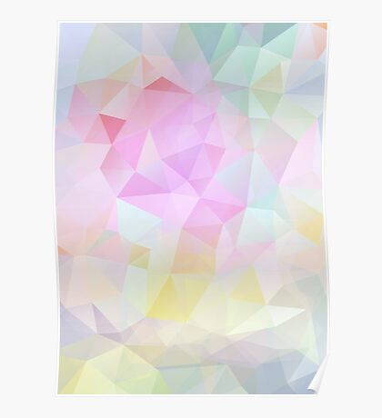 Abstract vector background of triangles, polygon wallpaper in pastel colors. Poster