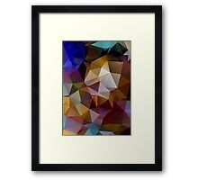 Abstract background of triangles, polygon wallpaper in retro bright colors. Framed Print