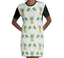 Exotic tropical seamless pattern palm branches and pineapples Graphic T-Shirt Dress