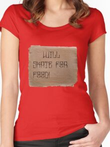 Will Skate for Food Women's Fitted Scoop T-Shirt