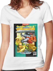 Street Fighter II Sega Cartridge Women's Fitted V-Neck T-Shirt