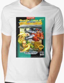 Street Fighter II Sega Cartridge Mens V-Neck T-Shirt