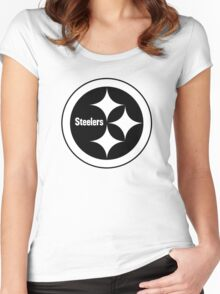 PITTSBURGH STEELERS BLACK AND WHITE Women's Fitted Scoop T-Shirt
