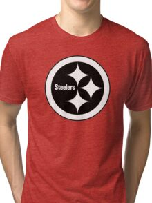 PITTSBURGH STEELERS BLACK AND WHITE Tri-blend T-Shirt